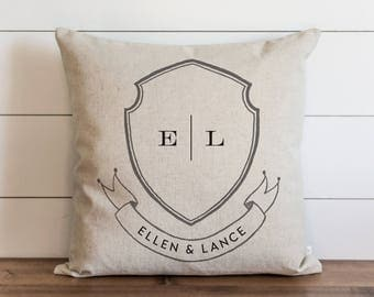 Family Crest_First Names 20 x 20 Pillow Cover // Everyday // Wedding  // Housewarming // Anniversary // Initial // Gift // Accent Pillow
