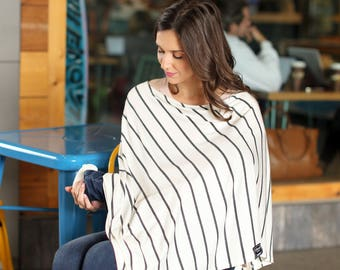 Kimber Stripe Nursing Poncho / Doubles as a Carseat Cover / Full Coverage Nursing Cover