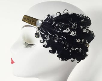 Curled Feather Fascinator Hair Clip Headband Gatsby Party Wedding Head Dress