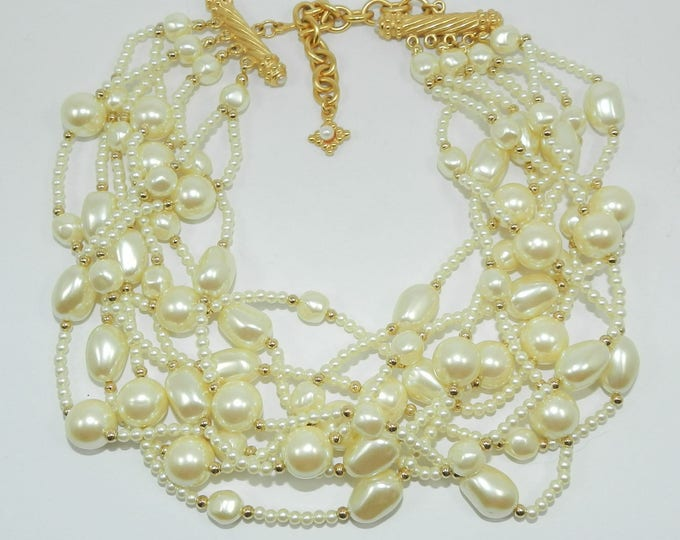 CAROLEE Signed Faux Pearl Necklace, Carolee Vintage Wedding Jewelry, Excellent Condition, Costume Jewelry Jewellery, Gift for Her