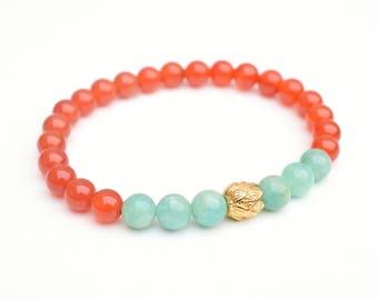 Carnelian bracelet, Lotus bracelet, Amazonite jewelry, Yoga bracelet, Gemstone bracelet, Gift for her, Amazonite bracelet, Carnelian jewelry