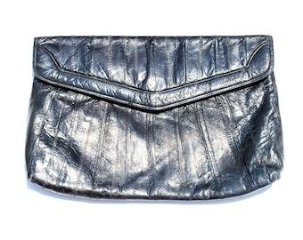 Vintage Black Eel Skin Purse Handbag Envelope Clutch