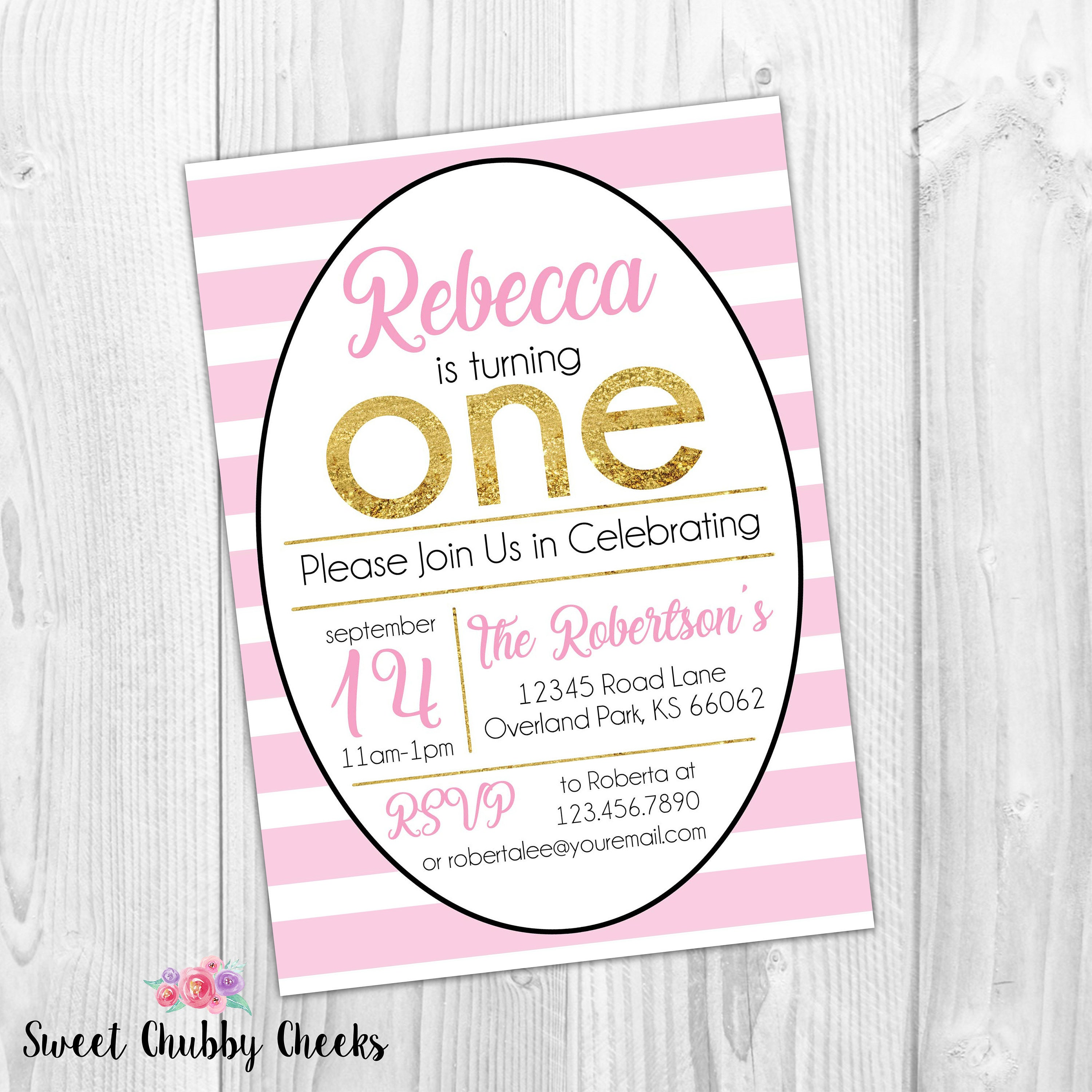 Pink and Gold First Birthday Party Invitation...Pink and Gold ...