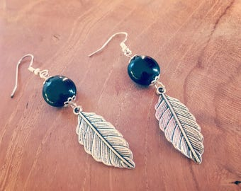 Black silver leaf earrings