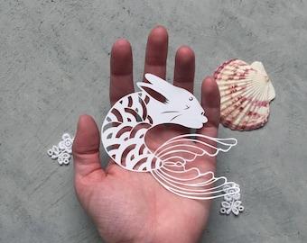 Hand-cut Mermaid Bunny - Merbit Paper-cut - Mermaid Rabbit Art - Kirigami Usagi - Scherenschnitte Bunny Art