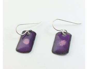 Purple with lavender accent enameled earrings
