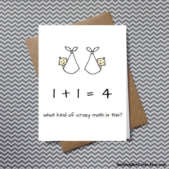 twins congratulations card funny baby shower card for mom, Baby shower invitation
