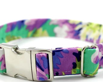 "Purple Teal Green Silver Chrome Collar Leash Small Medium Large-""Daisy Me Rollin"" Green"