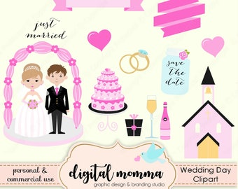 Save The Date, Wedding, Bride and Groom, Just Married Clipart Set, Personal & Commercial Use, Instant Download!