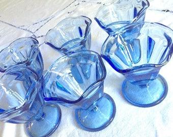 Blue Sherbet Compote Stems, Set of 6 Light Blue Sundae Glasses, Anchor Hocking Dessert Ice Cream Glasses, Blue Stemware, Garden Tea Party