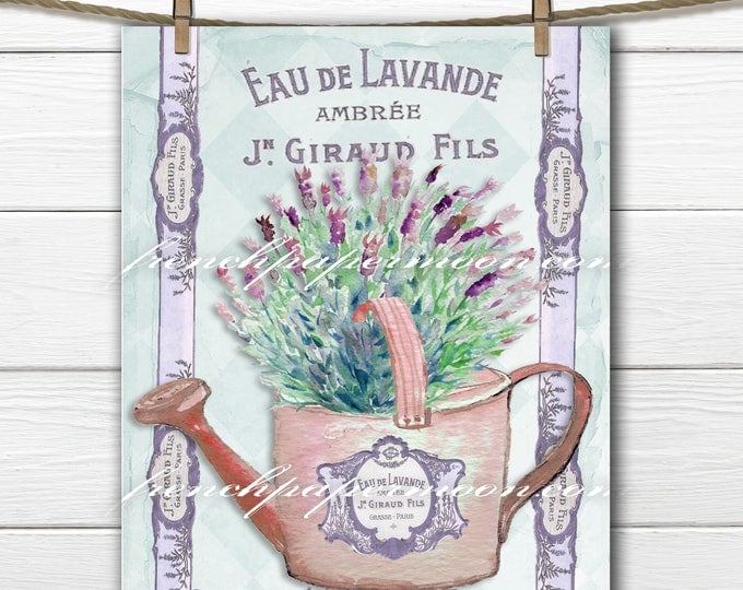 Gorgeous French Lavender Digital Art, French Perfume, Watering Can, French label, Iron on Pillow Transfer