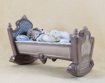 LLADRO ~ Rock A Bye Baby ~ Girl in Cradle ~ Collectible Glass ~ DAMAGED ~ Genuine LLADRO ~ Figurine ~ Child's Room ~ Penny Lane Treasures