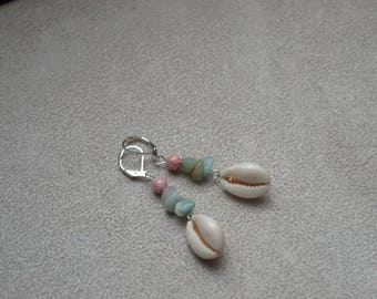 """Cowrie"" shell cowrie, amazonite, Czech glass earrings"