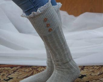 Light Gray Boot Socks Trim with crochet Lace and buttons- Boho style socks