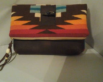 Native American Style  Clutch Bag Purse Pendleton Wool Fabric