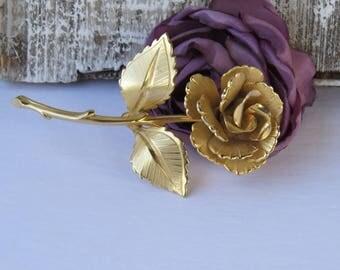 Vintage Gold Rose Brooch Pin - Long Stem Open Rose Brooch - Love Jewelry
