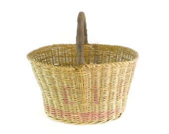 Antique PA Estate Basket with Red Detail, Tall Oval Gathering Basket, Farmhouse Basket, Garden Basket