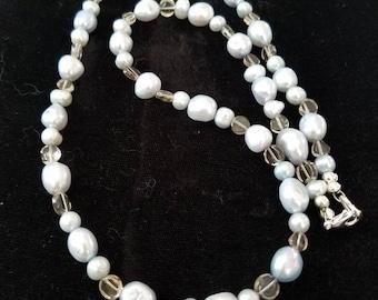 Ice blue pearls with smoky quartz