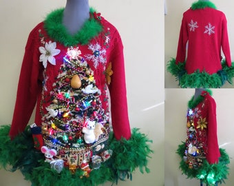 2 Turtle Doves, a Pear, a partridge & Squirrel in Christmas Tree Tacky Ugly Christmas Sweater Mini Dress Light UP Feathers Oversized S-M