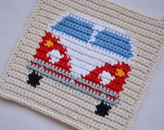 Van Potholder Crochet Pattern - for beginners
