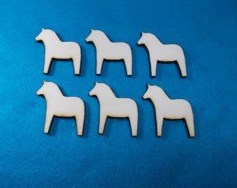Dala Horse, Wood, 6 pcs  (10-0028A)