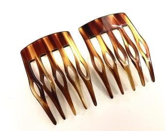 Vintage hand made tortoise hair comb made in France( set of 2)
