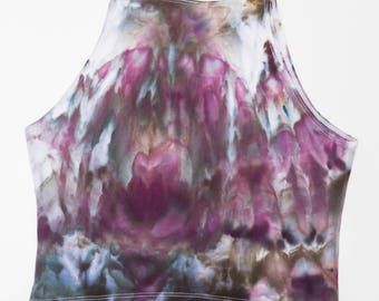 Ice Dyed Sleeveless Tank Crop Top in Eggplant and Olive, Size L