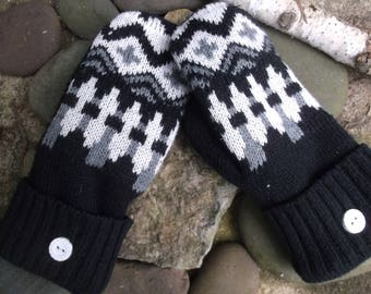 Cozy Sweater Mittens, black, gray and white design, made from upcycled recycled sweaters, fleece lined, eco friendly