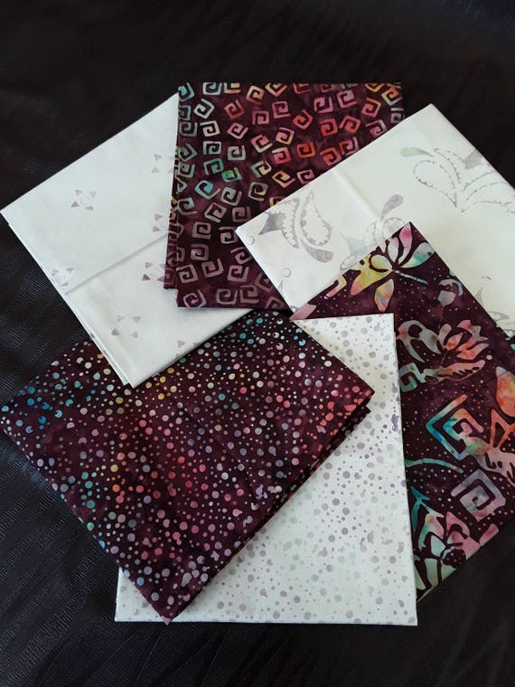 Batik Textiles Fat Quarter Bundle of 6 Hand Cut Complimentary Colors. Group 6B Soft Purple Berry With Neutrals. Geometric Modern Designs