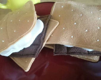 Play smores, Pretend food,  Play food, Pretend smores, Kids camping, soft toys, felt food, plush food, play kitchen, photo prop, kids play