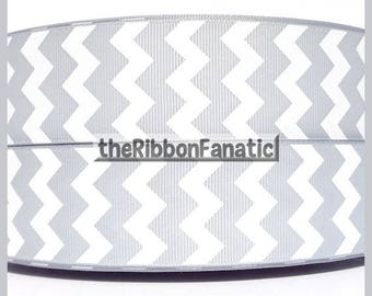 "5 yds 1.5""    Gray Grey  and White Chevron Striped Grosgrain Ribbon"