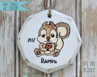 personalized squirrel ornament, woodland Christmas ornaments, woodland nursery, woodland decor, woodland ornament