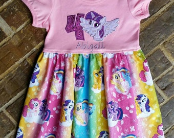 Girls Pony Twilight Sparkle Dress with Name and Birthday Number