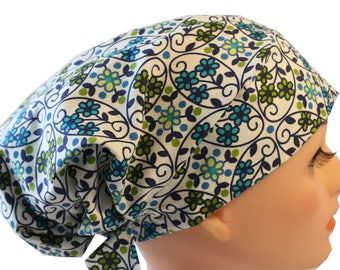Scrub Hat Cap Chemo Bad Hair Day Hat  European BOHO Pixie Blue and Green Tiny Flowers 2nd Item Ships FREE