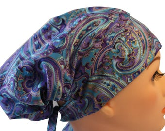 Scrub Hat Cap Chemo Bad Hair Day Hat  European BOHO Pixie Purple Blue Gold 2nd Item Ships FREE