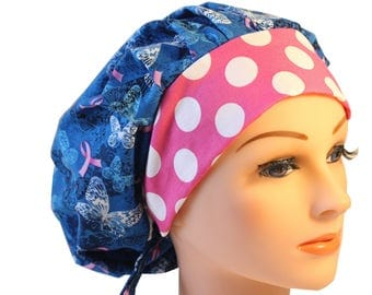 Scrub Cap Surgical Hat Chef   Dentist Hat Tie Back Bouffant Blue Pink Ribbon Cancer Awareness Butterflies 2nd Item Ships FREE