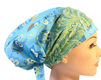 Scrub Hat Cap Chemo Bad Hair Day Hat  European BOHO Banded Pixie Tie Back Blue Owl Green Paisley Band 2nd Item Ships FREE