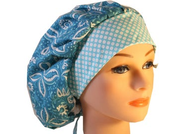 Scrub Cap Surgical Hat Chef   Dentist Hat Tie Back Bouffant Clean Blue Ceil Floral 2nd Item Ships FREE