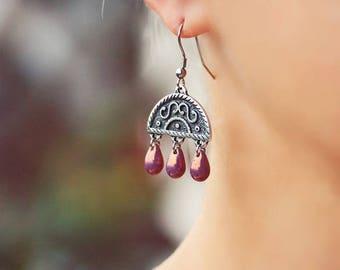 Silver Chandelier Earrings Silver Drop Earrings Dangles Lilac Golden Earrings Bohemian Earrings Boho Earrings Lilac Earrings Drop Earrings