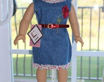 Denim Dress with floral trim