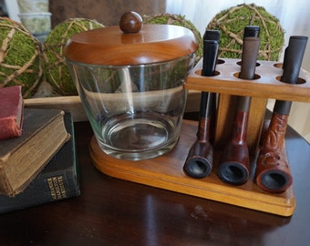 Vintage, Pipe Stand with Humidor and Six Pipes
