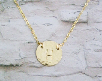 Bridesmaids gift set of 5 necklaces, Personalized Initial necklace, Hammered Gold Filled disc necklace, Personalized costum, Mother's day