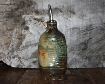 Ceramic oil bottle, Stoneware vinegar bottle