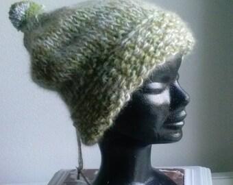 Hat very warm, pure wool and 30% Merino 70% angora Heather Green