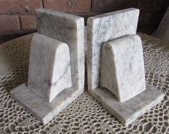 Marble Art Deco Pair of Bookends.