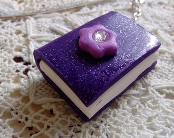 Purple glitter polymer clay book bookmark, miniature book, unique gift, handmade book, readers gift, metal bookmark, xmas gift