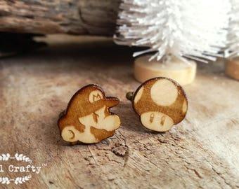 Mario Bros Wooden Cufflinks Magic Mushroom Dad Grooms Best man Groomsman Rustic Wedding Birthday Gift Cuff links