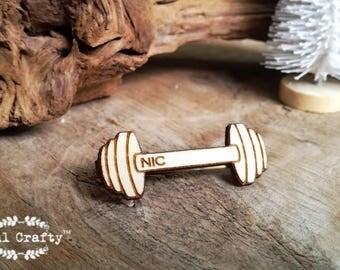 Dumbbell Wooden Tie Clips workout sportsman fitness Dad Grooms Bestman Groomsman Wedding Birthday Personalized Gift Tie Bar