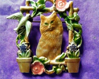 Beautiful floral enamel Cat Pin