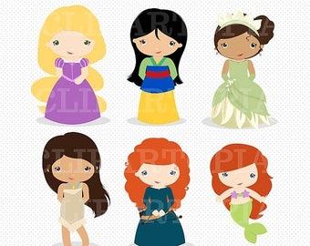 50% OFF SALE Princess Digital Clipart /  Little Princess Clip Art / Princess Clipart For Personal and Commercial Use/ INSTANT Download